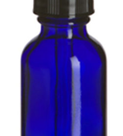 Photo of 1 oz Cobalt Blue Boston Round Glass Bottle with Dropper