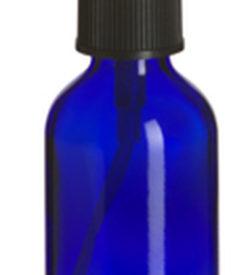 Photo of 2 oz Cobalt Blue Boston Round Glass Bottle with Black Atomizer