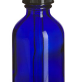 Photo of 2 oz Cobalt Blue Boston Round Glass Bottle with Dropper