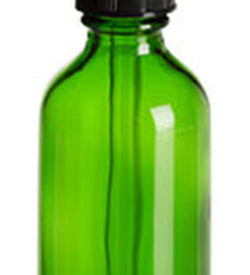 Photo of 2 oz Green Boston Round Glass Bottle with Dropper