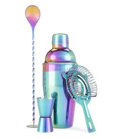 Mirage acid washed iridescent bar set with shaker