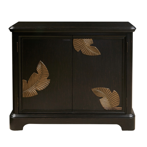 Miraculous Gold Leaf Black Wood Two Door Accent Bar Cabinet Uwap Interior Chair Design Uwaporg