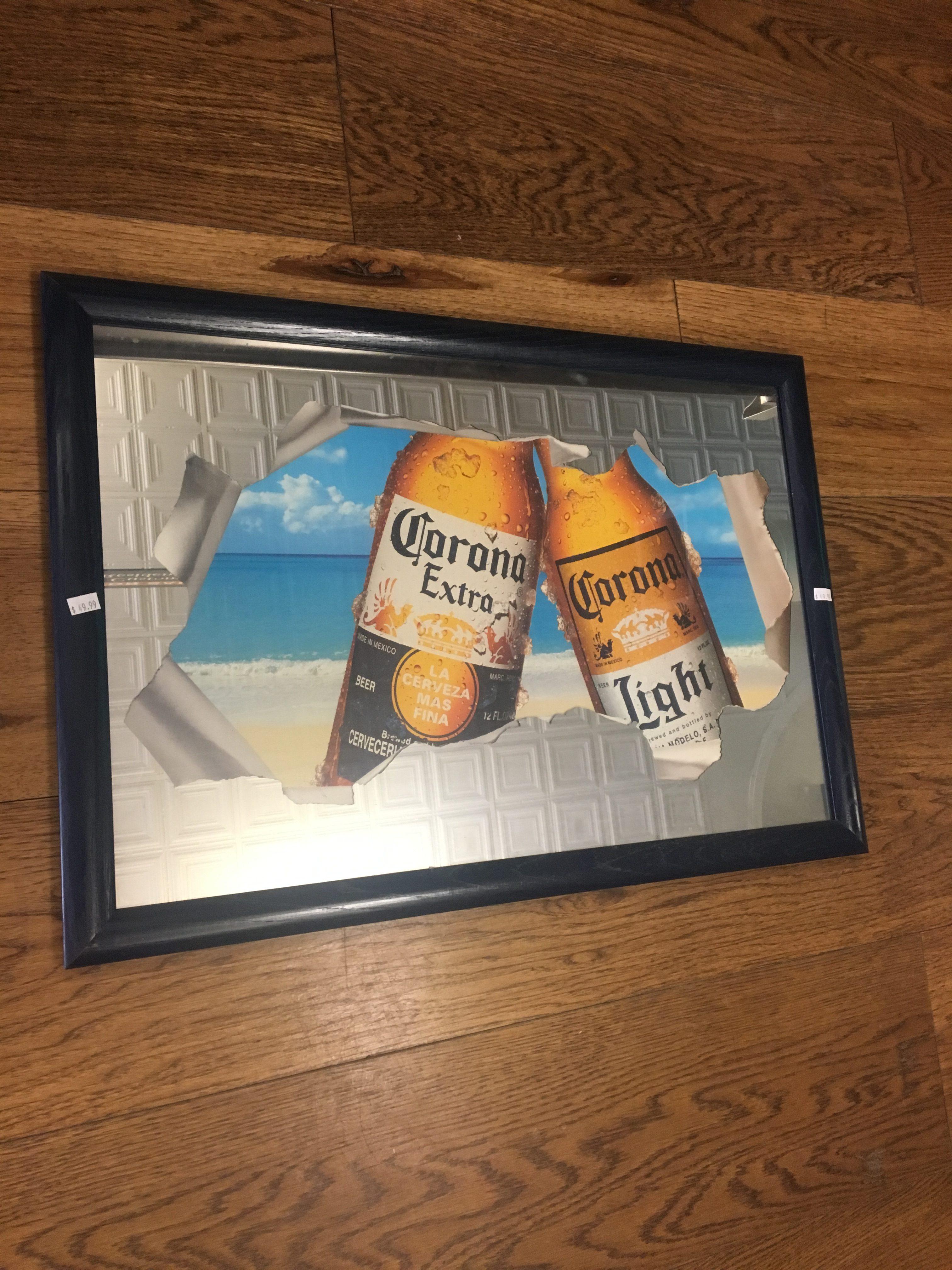 corona extra vintage bar mirror