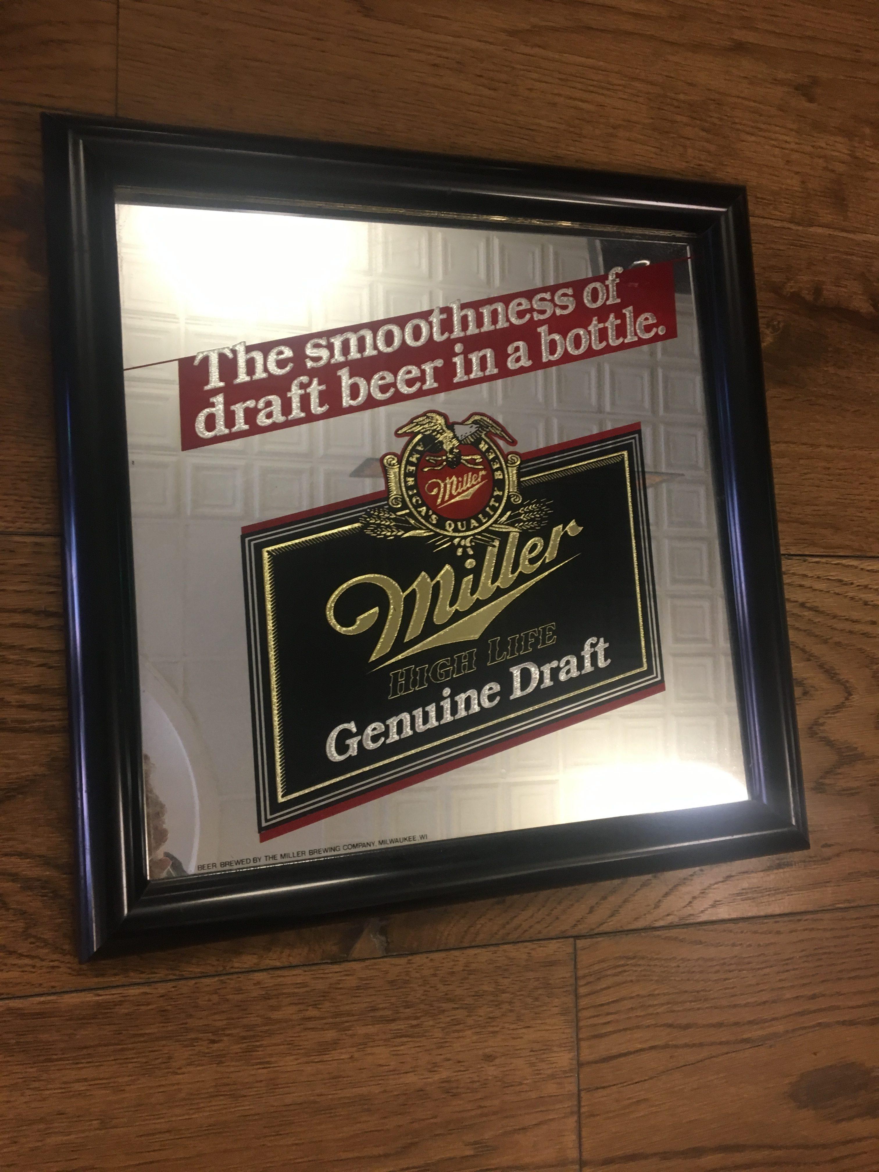 Miller High Life Genuine Draft Vintage Bar Mirror