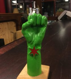 PHoto of Revolution Brewing Small Green Fist Tap Handle