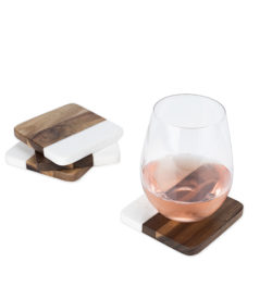 photo of Marble and Acacia Coasters With Drink