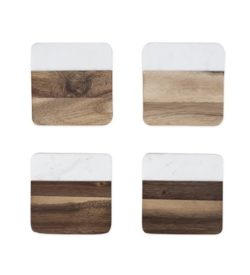photo of Marble and Acacia Wood Coasters Rustic Farmhouse by Twine set of 4