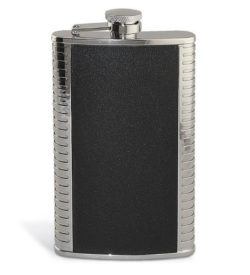 Photo of Silver and Leather flask 9 oz