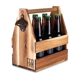Photo of acacia wood beer caddy 1