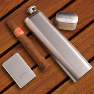Photo of cigar case with flask and lighter