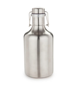photo of flip top growler stainless steel cop on