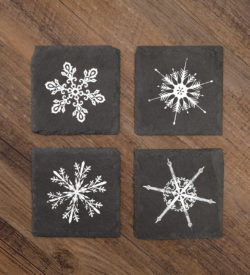 photo of holiday snowflake slate coasters by twine