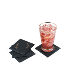 photo of rustic gilded coasters with drink