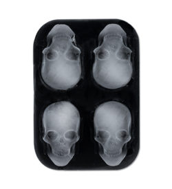 photo of skull ice mold with ice