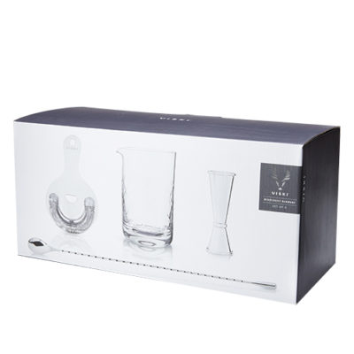 photo of stainless mixologist barware set in box