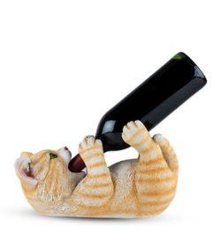 Photo of tippler tabby cat with bottle